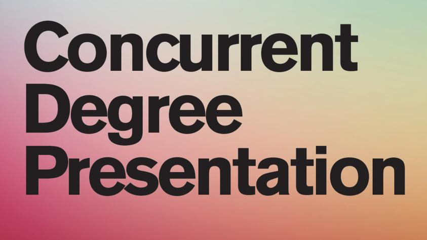 Concurrent degree presentation header in black on pink orange green blue pastel gradient background