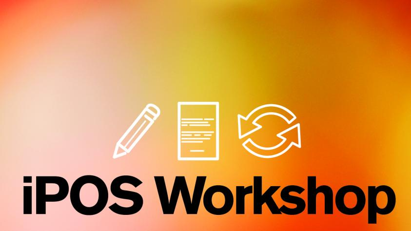 iPOS workshop banner with pencil paper and rotating arrows icons on a red orange yellow pink gradient background