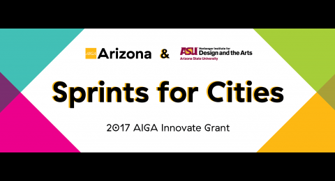 Sprints for cities web banner 2017 AIGA innovate grant with turquoise pink purple green and yellow triangles on white background