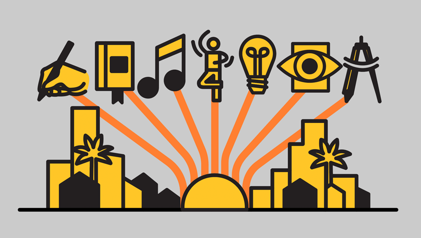 graphic of city with several icons that represent different creative mediums