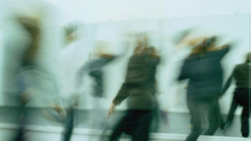 photograph with people moving, with motion blur