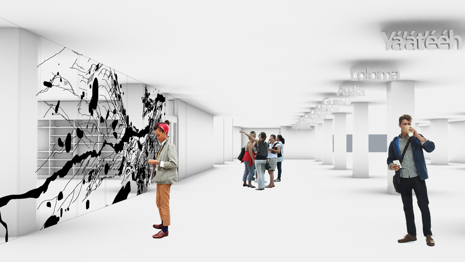 interior rendering of renovated hayden library